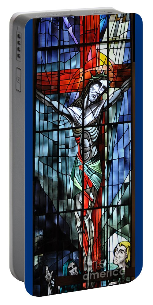 Stained Portable Battery Charger featuring the photograph The Crucifixion by Savannah Gibbs