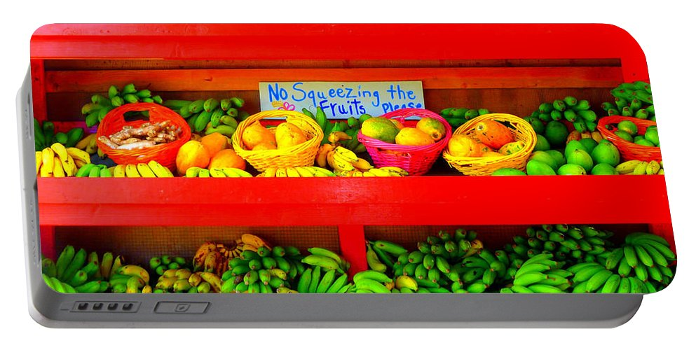 Red Portable Battery Charger featuring the photograph No Squeezing The Fruits by Kris Hiemstra