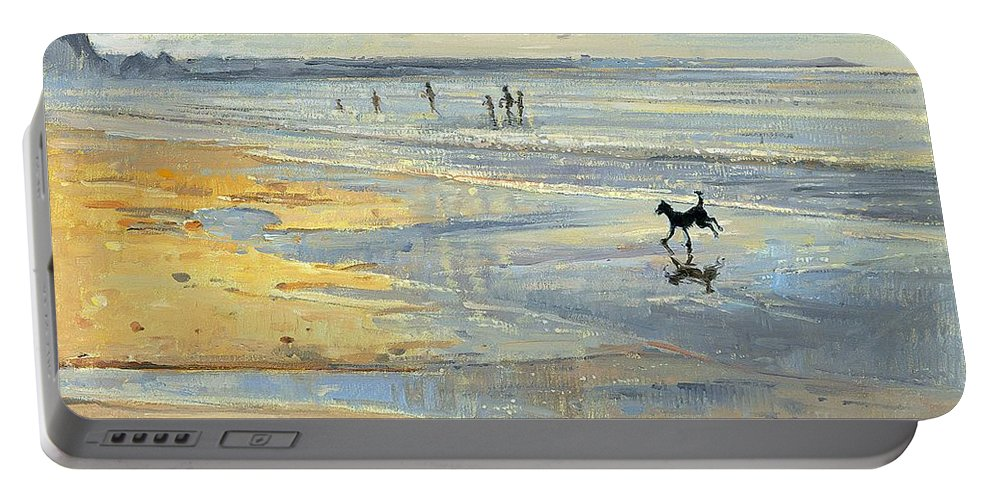 20th; Beach; Seaside; Low Tide; Dog; Running; Playing; Sand; Coast Portable Battery Charger featuring the painting The Little Acrobat by Timothy Easton