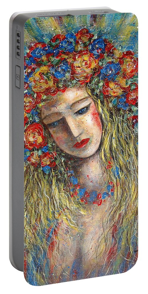 Painting Portable Battery Charger featuring the painting The Loving Angel by Natalie Holland