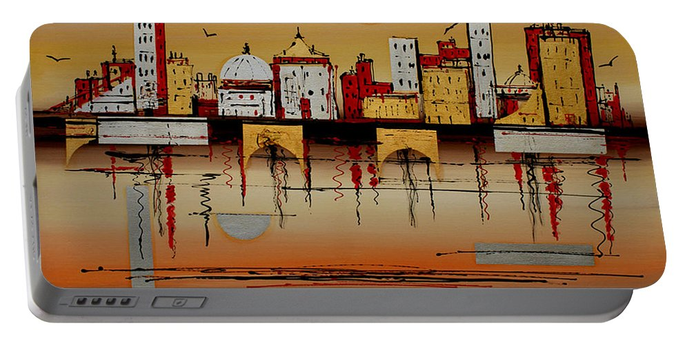 Abstract Portable Battery Charger featuring the painting Urban Landscape by Miroslav Stojkovic - Miro