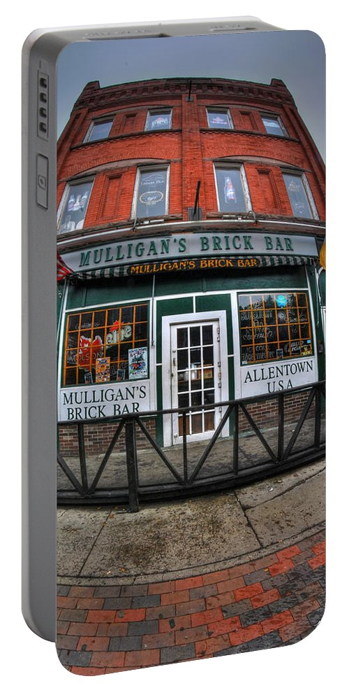Allentown Portable Battery Charger featuring the photograph 002 Mulligans Brick Bar by Michael Frank Jr