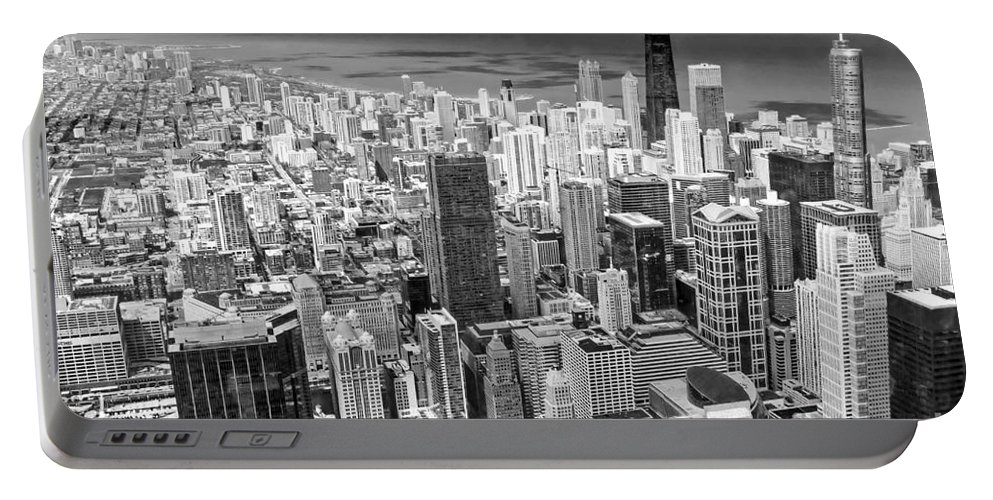 Chicago Portable Battery Charger featuring the photograph 0036 Chicago Skyline Black And White by Steve Sturgill