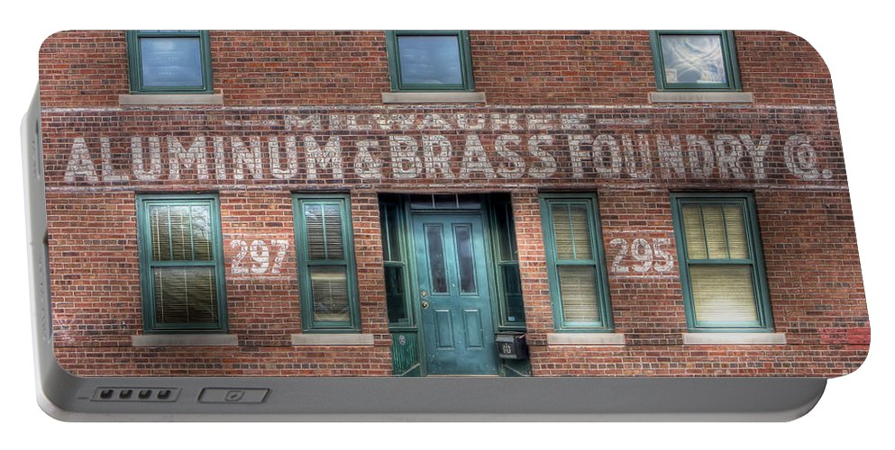 Aluminum Portable Battery Charger featuring the photograph 0044 Foundry Building by Steve Sturgill