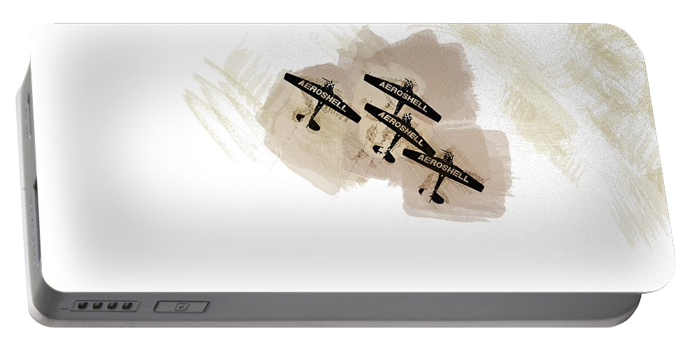 Chicago Portable Battery Charger featuring the digital art 0166 - Air Show - Brown Water by David Lange