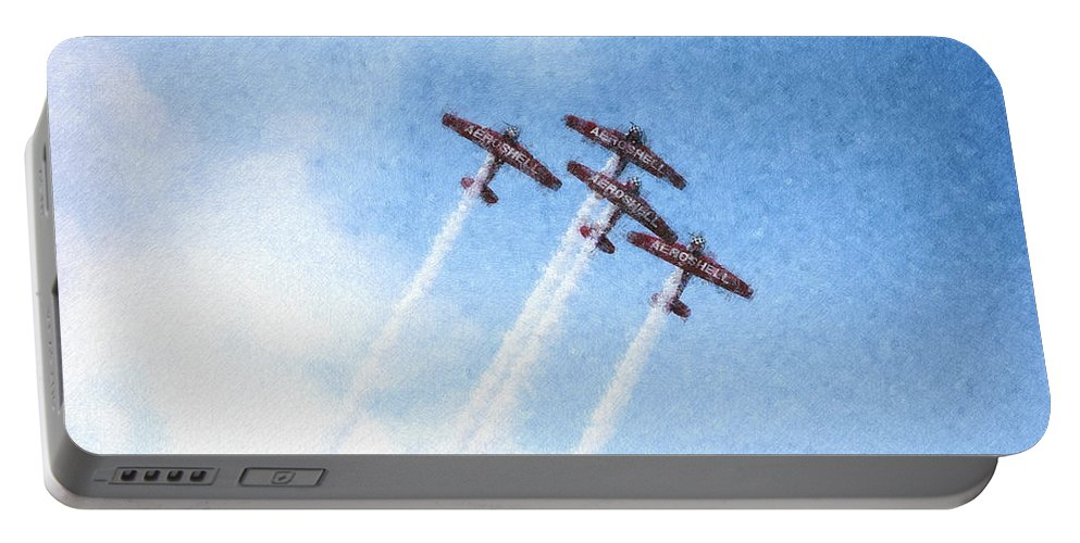 Chicago Portable Battery Charger featuring the digital art 0166 - Air Show - Pastel Chalk 2 by David Lange