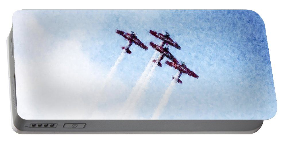 Chicago Portable Battery Charger featuring the digital art 0166 - Air Show - Watercolor 1 by David Lange