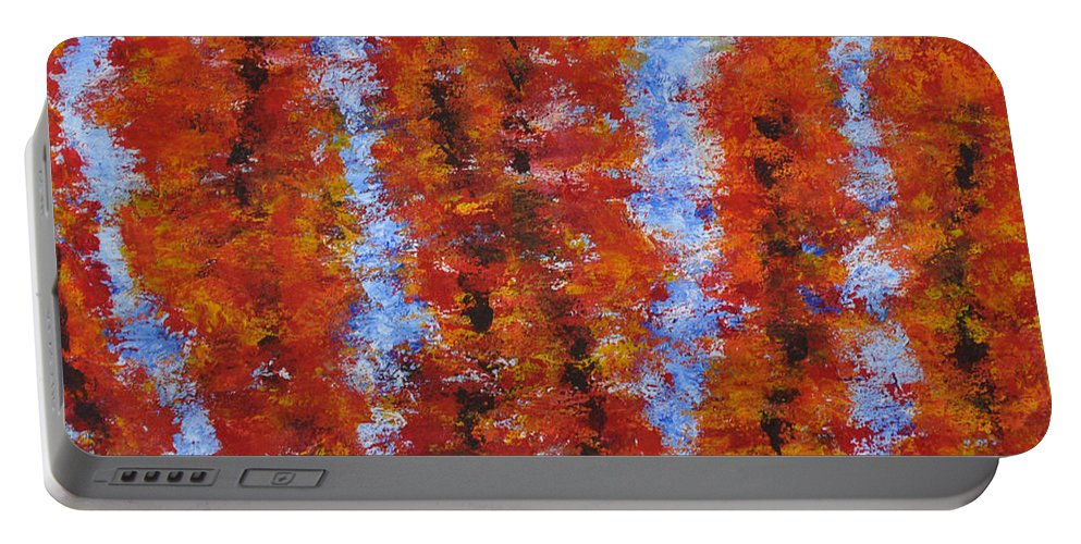 Landscape Portable Battery Charger featuring the painting 026 Red Trees by Chowdary V Arikatla