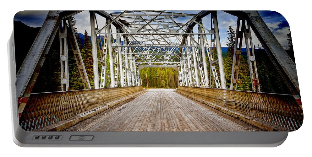 Bow Portable Battery Charger featuring the photograph 0649 Bow River Bridge by Steve Sturgill
