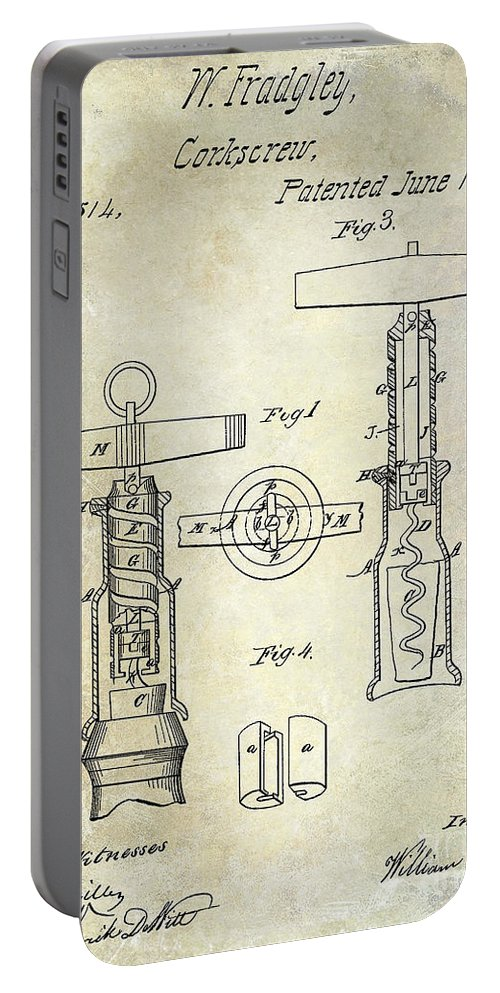 Corkscrew Patent Drawing Portable Battery Charger featuring the photograph 1862 Corkscrew Patent Drawing by Jon Neidert