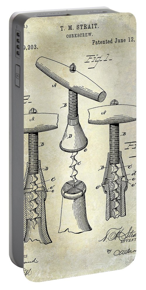 Corkscrew Portable Battery Charger featuring the photograph 1883 Corkscrew Patent Drawing by Jon Neidert