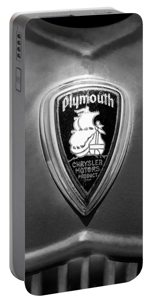 1930 Chrysler Plymouth Emblem Portable Battery Charger featuring the photograph 1930 Chrysler Plymouth Emblem by Jill Reger