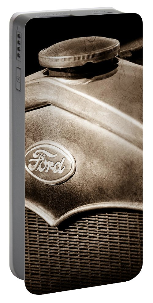 1931 Ford Grille Emblem Portable Battery Charger featuring the photograph 1931 Ford Grille Emblem by Jill Reger