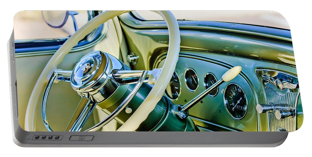 1933 Pontiac Steering Wheel Portable Battery Charger featuring the photograph 1933 Pontiac Steering Wheel -0463c by Jill Reger