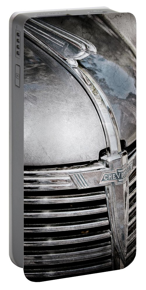 1938 Chevrolet Hood Ornament Portable Battery Charger featuring the photograph 1938 Chevrolet Hood Ornament - Emblem by Jill Reger
