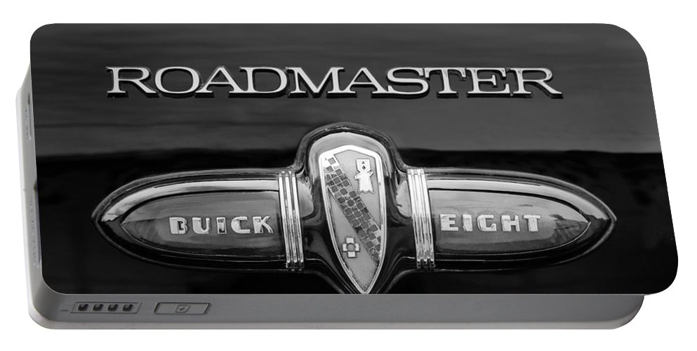 1939 Buick Eight Roadmaster Emblem Portable Battery Charger featuring the photograph 1939 Buick Eight Roadmaster Emblem by Jill Reger