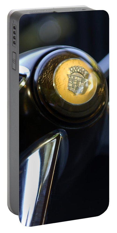 1947 Cadillac Model 62 Coupe Steering Wheel Portable Battery Charger featuring the photograph 1947 Cadillac Model 62 Coupe Steering Wheel by Jill Reger
