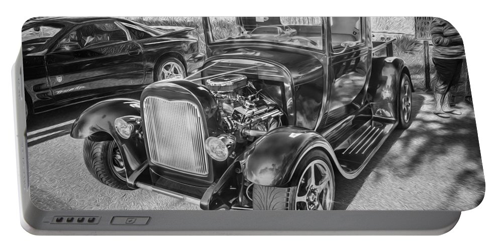 1949 Ford Portable Battery Charger featuring the photograph 1949 Ford Pick Up Truck Bw by Rich Franco