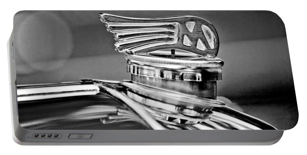 1953 Morgan Plus 4 Le Mans Tt Special Hood Ornament Portable Battery Charger featuring the photograph 1953 Morgan Plus 4 Le Mans Tt Special Hood Ornament by Jill Reger