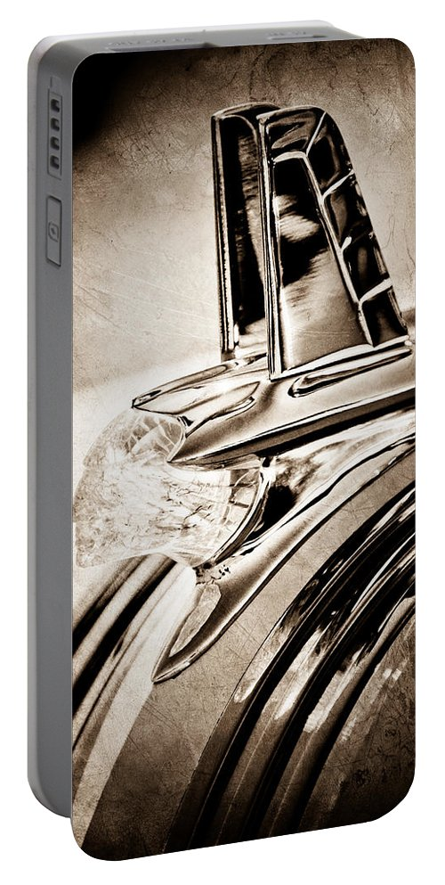1953 Pontiac Hood Ornament Portable Battery Charger featuring the photograph 1953 Pontiac Hood Ornament by Jill Reger