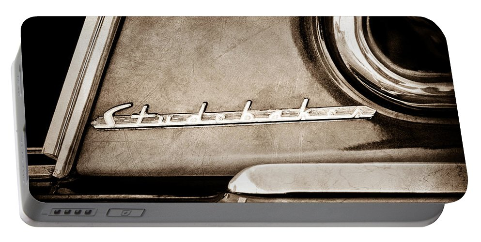 1953 Studebaker Champion Starliner Side Emblem Portable Battery Charger featuring the photograph 1953 Studebaker Champion Starliner Side Emblem by Jill Reger