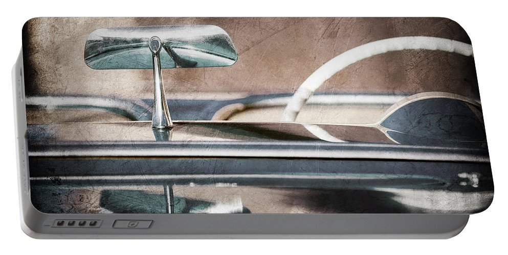 1954 Chevrolet Corvette Rearview Mirror Portable Battery Charger featuring the photograph 1954 Chevrolet Corvette Rearview Mirror by Jill Reger
