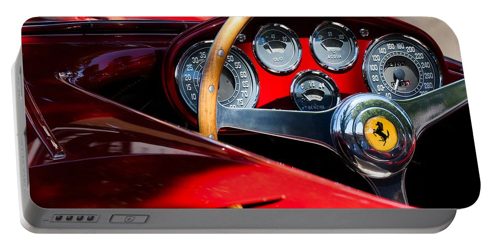 1954 Ferrari 500 Mondial Spyder Steering Wheel Emblem Portable Battery Charger featuring the photograph 1954 Ferrari 500 Mondial Spyder Steering Wheel Emblem by Jill Reger