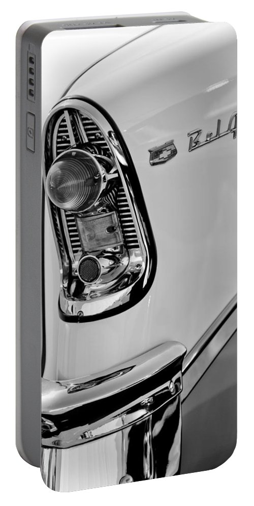 1956 Chevrolet Belair Taillight Emblem Portable Battery Charger featuring the photograph 1956 Chevrolet Belair Taillight Emblem by Jill Reger