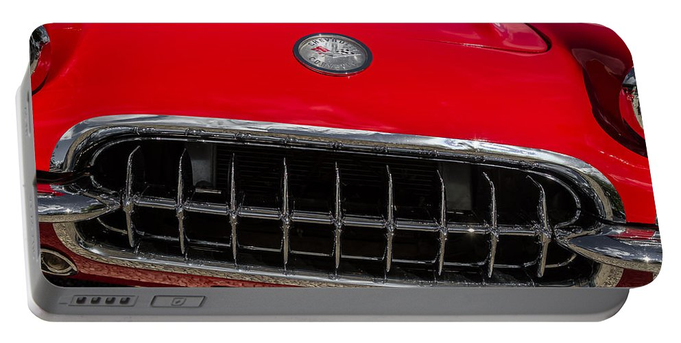 1958 Portable Battery Charger featuring the photograph 1958 Chevrolet Corvette Grille by Ron Pate