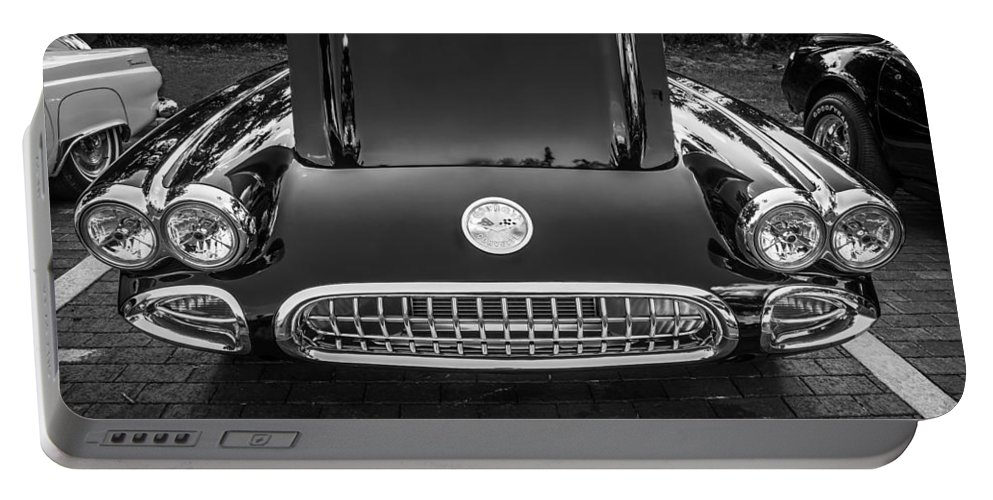 1959 Chevy Corvette Portable Battery Charger featuring the photograph 1959 Chevy Corvette Convertible Bw by Rich Franco