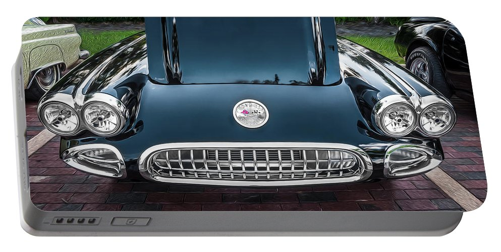 1959 Chevy Corvette Portable Battery Charger featuring the photograph 1959 Chevy Corvette Convertible Painted by Rich Franco