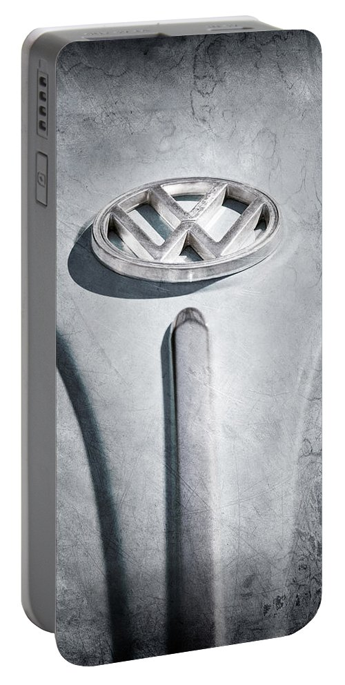 1960 Volkswagen Vw Emblem Portable Battery Charger featuring the photograph 1960 Volkswagen Vw Emblem by Jill Reger