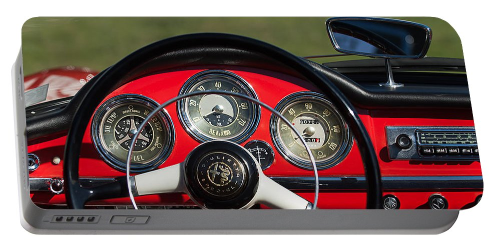 1961 Alfa-romeo Giulietta Spider Steering Wheel Emblem Portable Battery Charger featuring the photograph 1961 Alfa-romeo Giulietta Spider Steering Wheel Emblem by Jill Reger