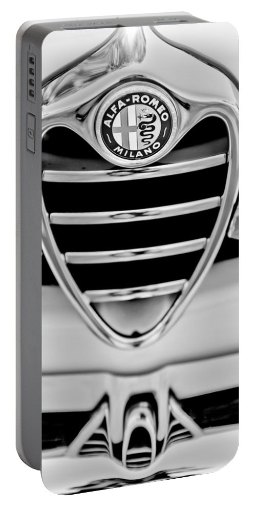 1962 Alfa Romeo Giulietta Coupe Sprint Speciale Grille Emblem Portable Battery Charger featuring the photograph 1962 Alfa Romeo Giulietta Coupe Sprint Speciale Grille Emblem by Jill Reger