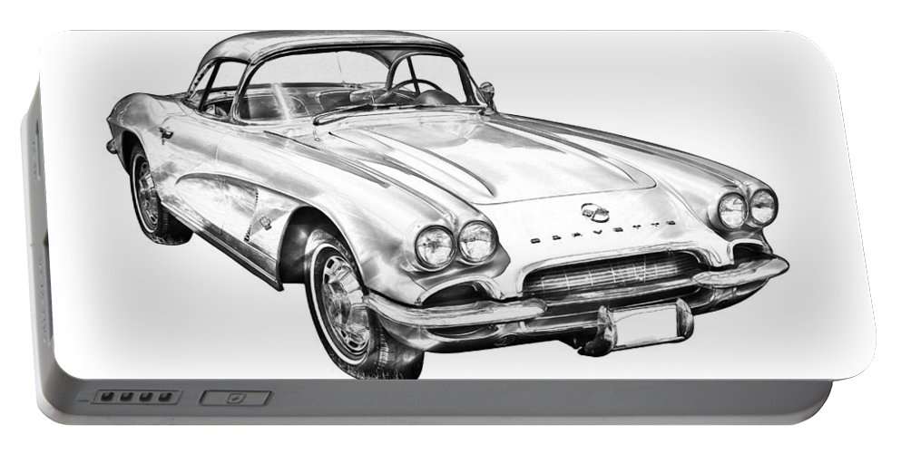 Antique Portable Battery Charger featuring the photograph 1962 Chevrolet Corvette Illustration by Keith Webber Jr