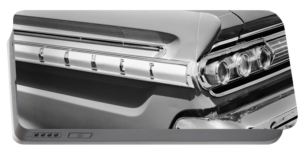 1964 Mercury Comet Taillight Emblem Portable Battery Charger featuring the photograph 1964 Mercury Comet Taillight Emblem by Jill Reger