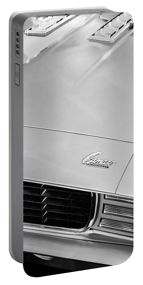 1969 Chevrolet Camaro 396 Rs Ss L89 Hood Emblem Portable Battery Charger featuring the photograph 1969 Chevrolet Camaro 396 Rs Ss L89 Hood Emblem by Jill Reger
