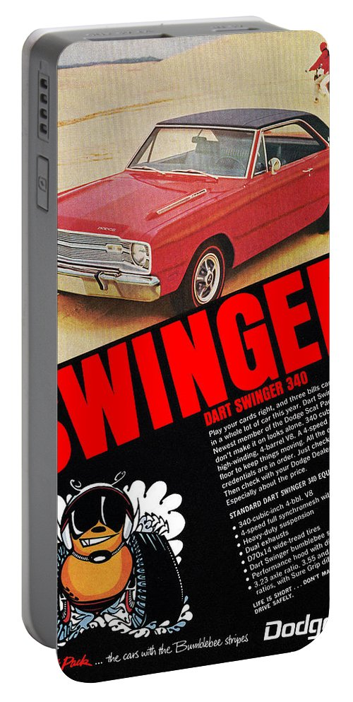 1969 Portable Battery Charger featuring the digital art 1969 Dodge Dart Swinger 340 by Digital Repro Depot