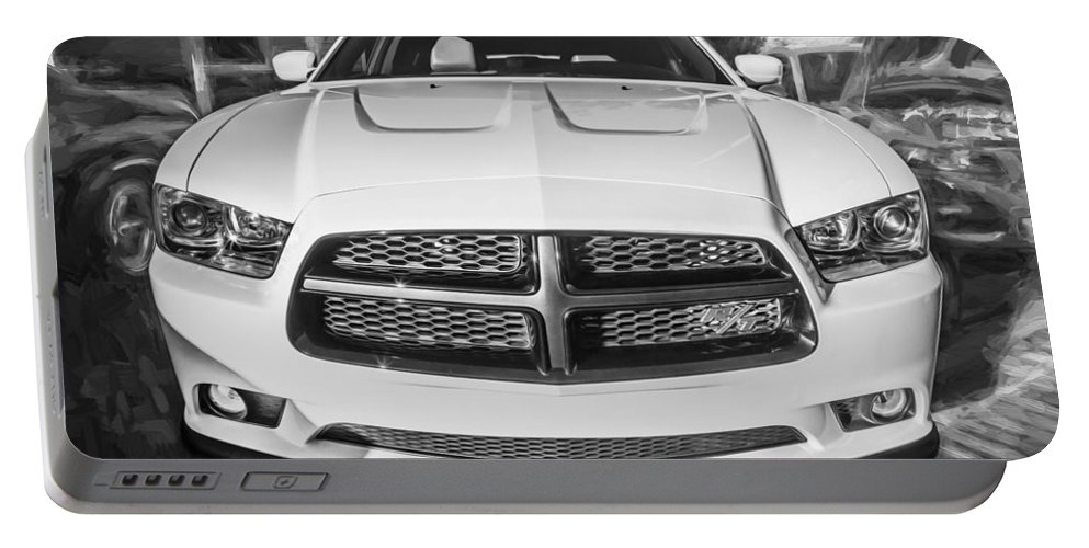 Dodge Portable Battery Charger featuring the photograph 2014 Dodge Charger Rt Painted Bw by Rich Franco
