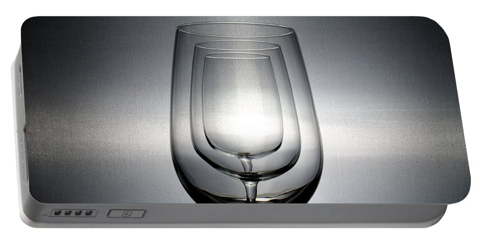 Glasses Portable Battery Charger featuring the photograph 3 Wine Glasses by Scott Angus