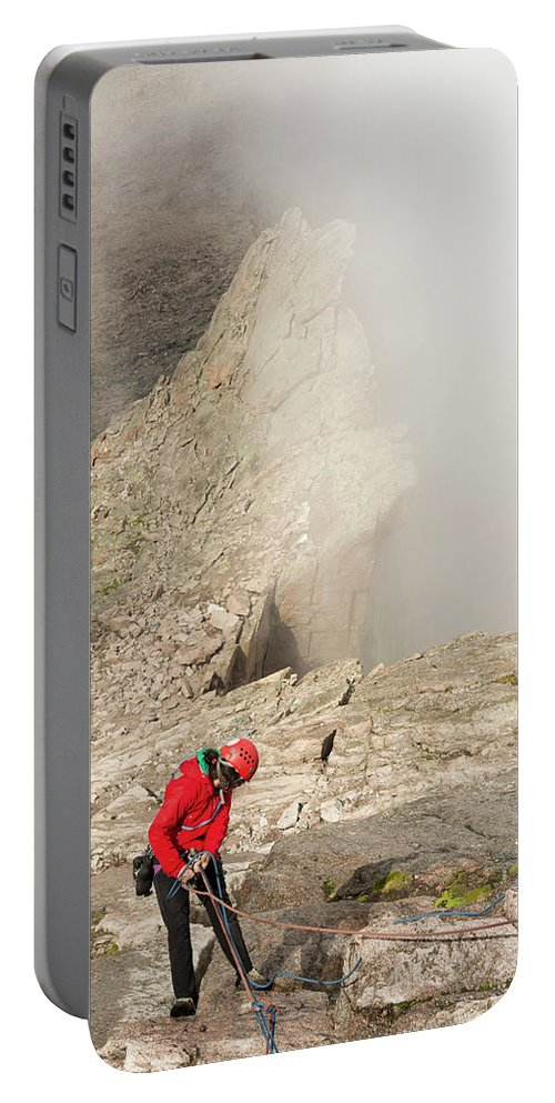 Vertical Portable Battery Charger featuring the photograph A Climber Descending Longs Peak by Kennan Harvey