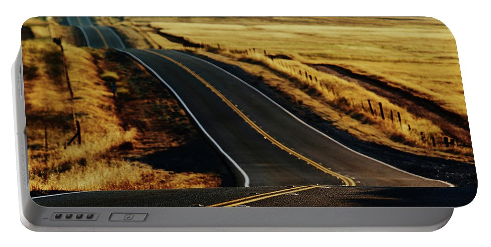 California Portable Battery Charger featuring the photograph A Country Road In The Central Valley by Ron Koeberer
