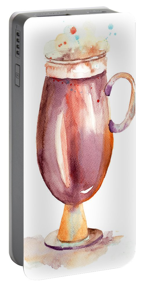 Background Portable Battery Charger featuring the painting A Cup Of Coffee by Regina Jershova