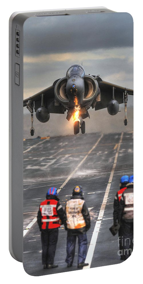 Naval Strike Wing Portable Battery Charger featuring the photograph A Gr9 Harrier by Paul Fearn