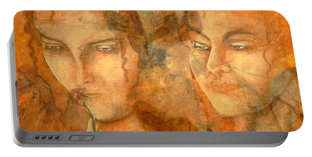 Giorgio Portable Battery Charger featuring the painting A Love That Will Never Fade by Giorgio Tuscani