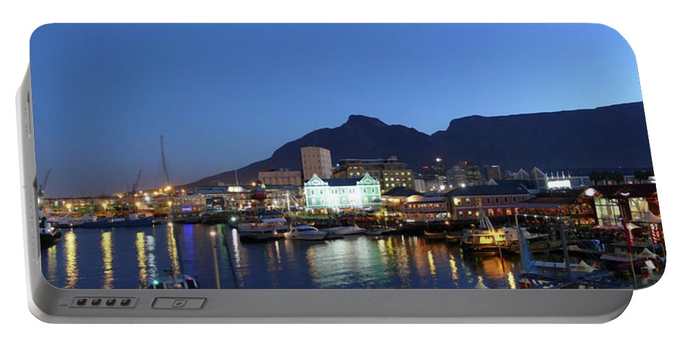 African Portable Battery Charger featuring the photograph A Night View Of The Victoria And Alfred by Jonathan Kingston