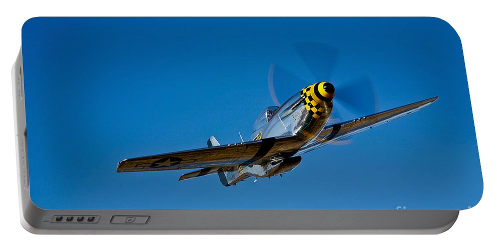 Horizontal Portable Battery Charger featuring the photograph A P-51d Mustang Kimberly Kaye In Flight by Scott Germain