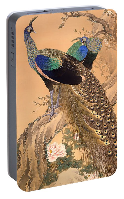 Painting Portable Battery Charger featuring the painting A Pair Of Peacocks In Spring by Mountain Dreams