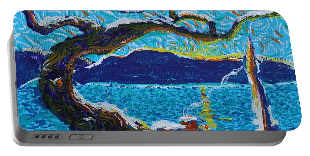 Landscape Portable Battery Charger featuring the painting A River's Snow by Stefan Duncan