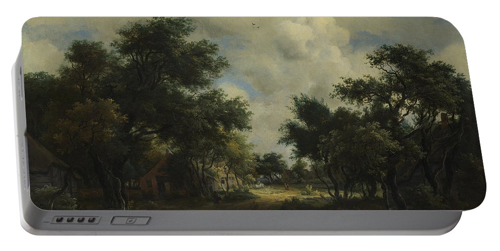 Meindert Hobbema Portable Battery Charger featuring the painting A Road Winding Past Cottages by Meindert Hobbema